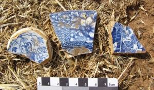 Three transfer printed ceramic shards