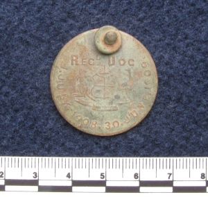 Circular dog tag for 1908-1909