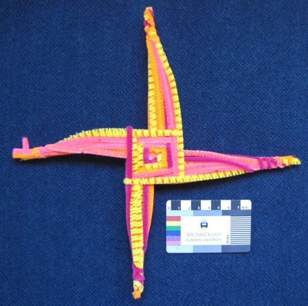 A colourful St Brigid's Cross made from pipecleaners